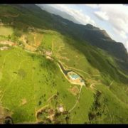 view from a flying paraglider